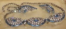 Vintage Art Deco Rhinestone Necklace  Blue and Clear Demi Parure Juliana Style