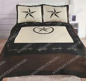 Texas Star Barbed Wire Western Oversize Quilt Bedspread Comforter Shams 3 Pc Set