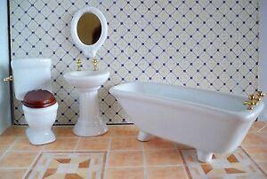 1 12 miniatur porzellan badezimmer 4 teilig puppenhaus badezimmerset ebay - Bagno in miniatura ...