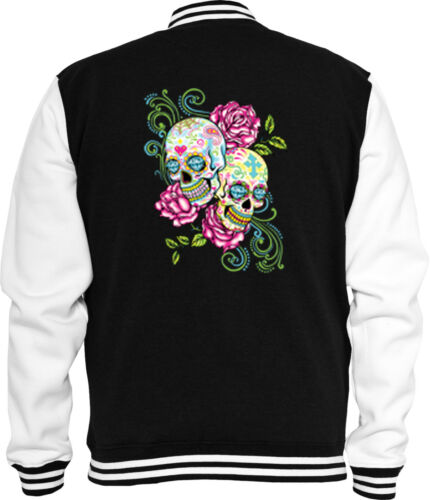 Mexican SWEAT COLLEGE Giacca Skull Pink Roses SUGAR SKULL rockabilly