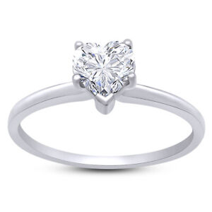 0.75 Ct Round Cut Simulated Solitaire Heart-Shaped Wedding Ring 10K White Gold