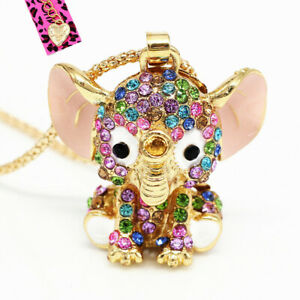 Women-039-s-Enamel-Crystal-Cute-Elephant-Pendant-Chain-Betsey-Johnson-Necklace-Gift