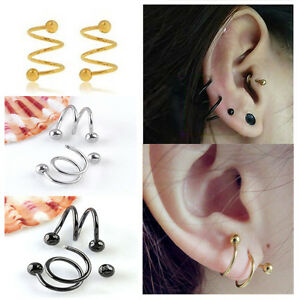 1 Pair Stainless Steel S Spiral Helix Ear Stud Lip Nose Ring Cartilage Piercing