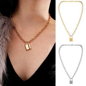 Alloy-Lock-Pendant-Necklace-Charms-Padlock-Long-Chain-Choker-Jewelry-Fashion