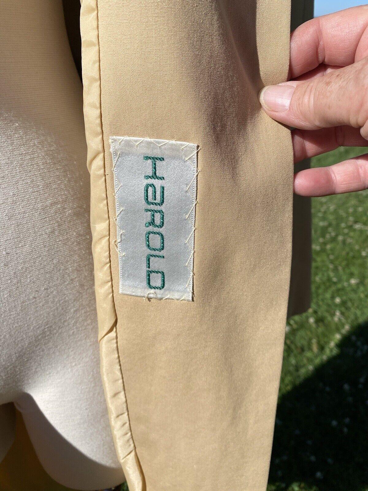 Vtg Pauline Trigere Designer Trench Coat Tan Cott… - image 7