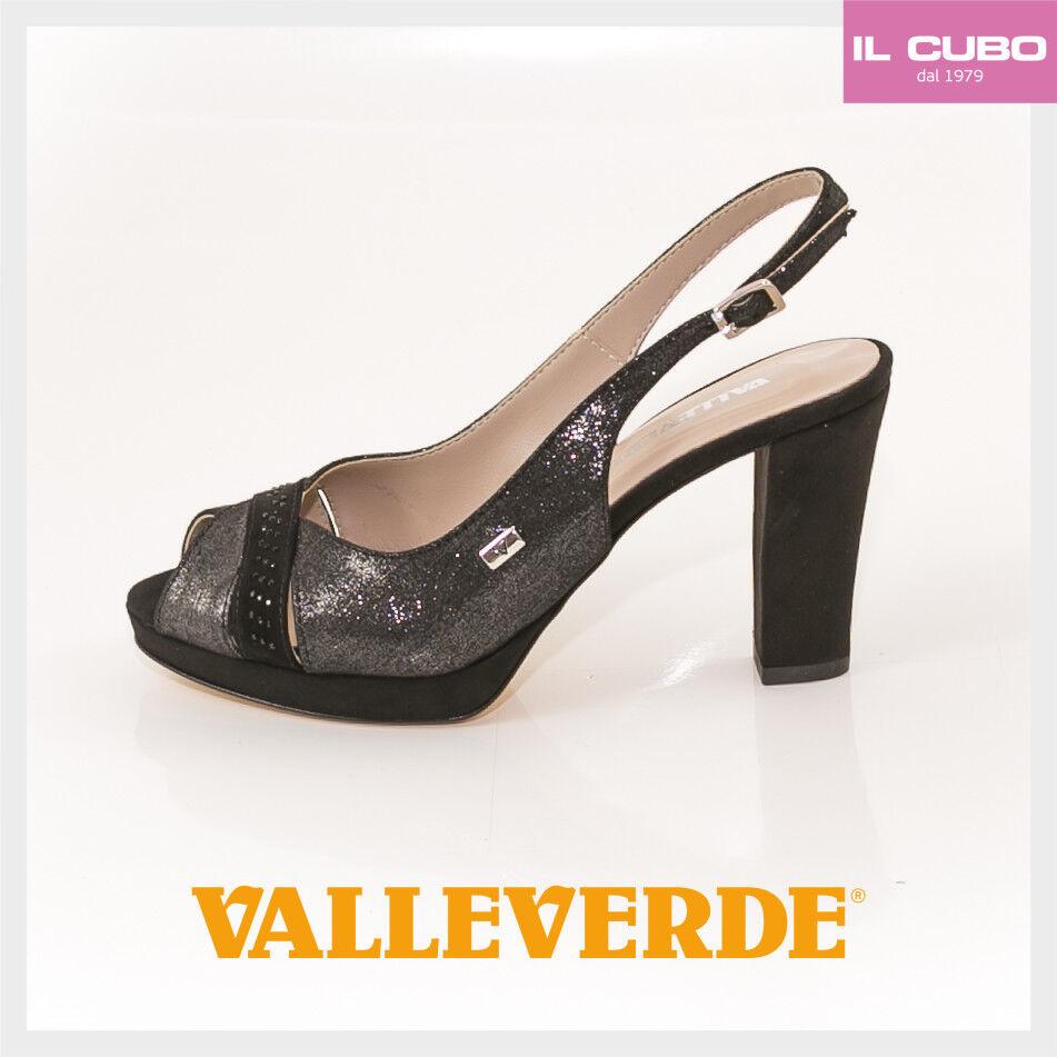 VALLEVERDE SANDALO SCARPA Damens COLORE NERO TACCO H 8,5 CM NEU Schuhe