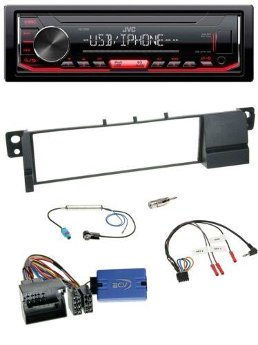 JVC 1din volante USB mp3 radio del coche para bmw 3er e46 2001-2007 Quadlock