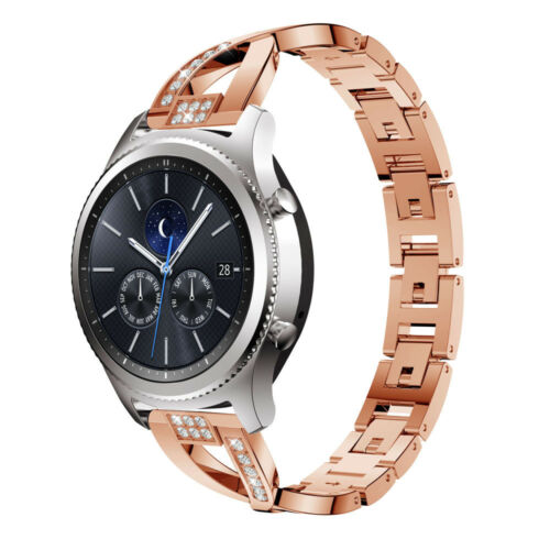 22mm Replacement Stainless Steel Crystal Strap Wrist Band For Samsung Gear S3