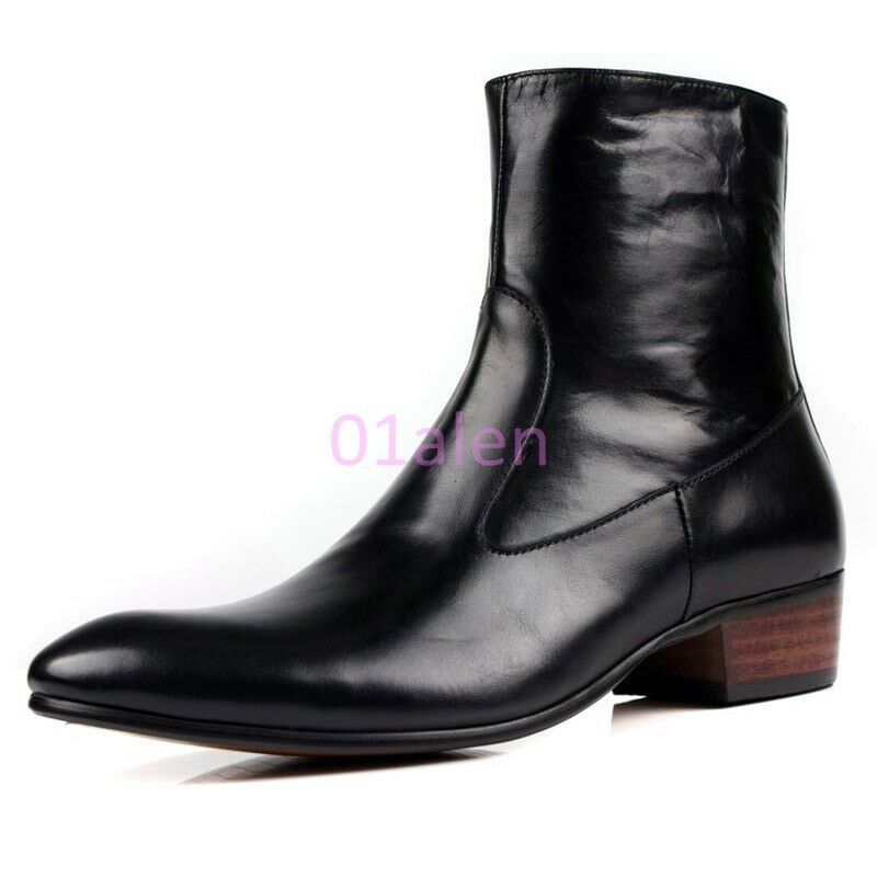 HOT Mens Vintage Mid Calf Zip Boots Cow Leather Pointy Toe Dress Formal High Top