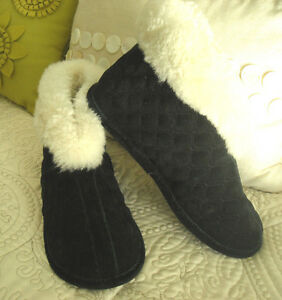 GREEN EASE - BLACK SUEDE, QUILTED, SHEARLING LINED/TRIMMED ANKLE BOOTIES - 7M