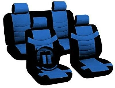 Car Seat Covers Sporty Accent Black & Blue PU Leather Steering Wheel Set CS1