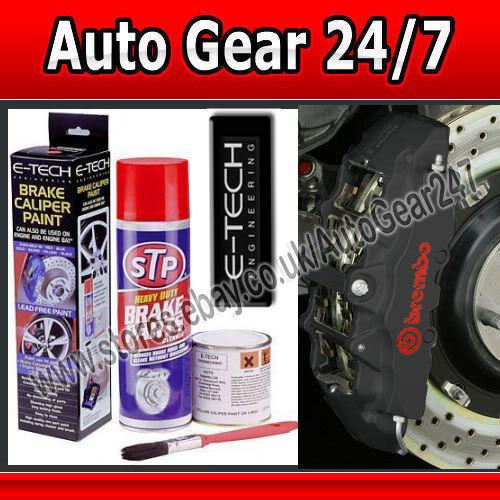 E-Tech Quality Car Brake Caliper Engine Bay & Block Wheel Hubs Black Paint Kit