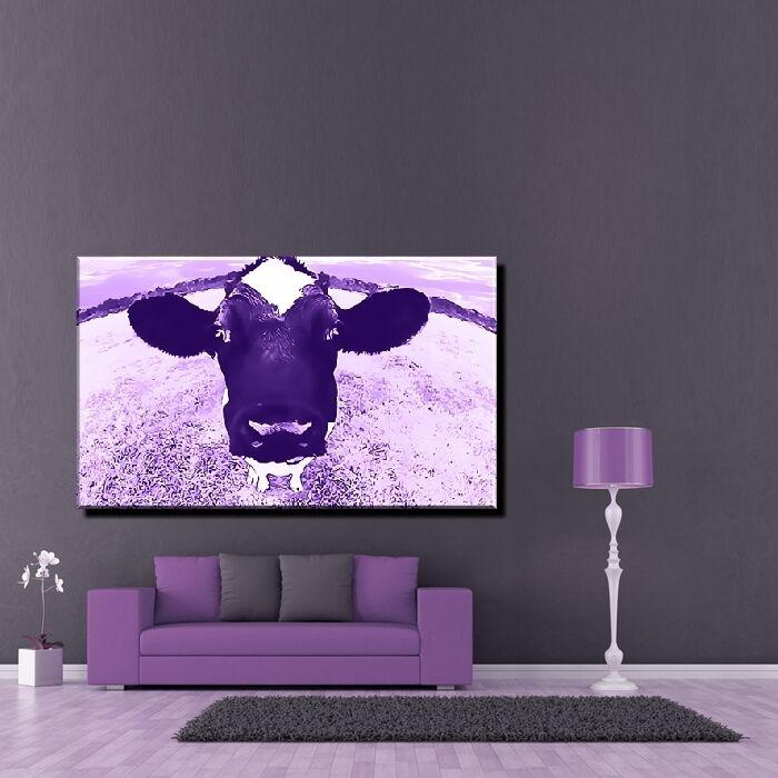 LEINWAND BILD BILDER XXL POP ART KUH KÜHE COW LILA WIESE RIND GRAS BIS 150x90