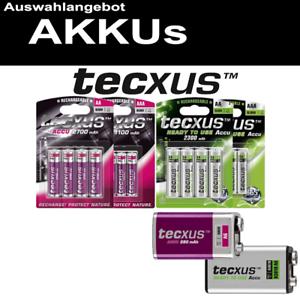 TECXUS AKKU 9V-Block D Mono R20 AAA Micro C Baby R14 AA R6 Mignon