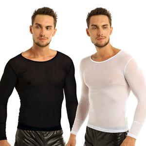 Men/'s Mesh Net Short Sleeve Perspective Muscle Tank Tops Underwear Sport Shirts