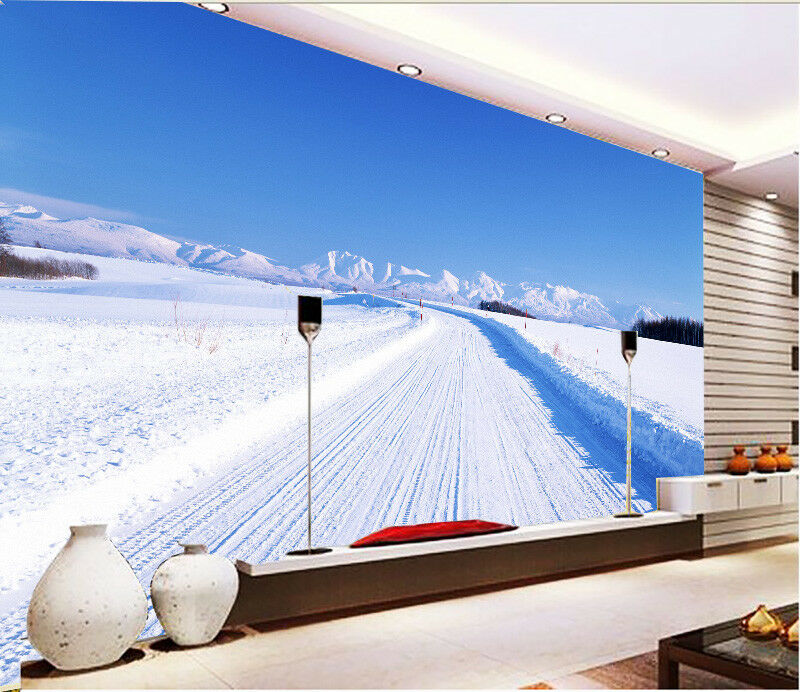 3D Sky Snowy Road 562 Wall Paper Wall Print Decal Wall Deco Indoor Mural Summer