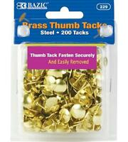 Bazic Brass (gold) Thumb Tack (200/pack) (case Of 24), New, Free Shipping