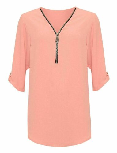 Ladies Women Zip Up 3//4 Turn Up Button Sleeve Top V Neck Curved Hem Shirt Top