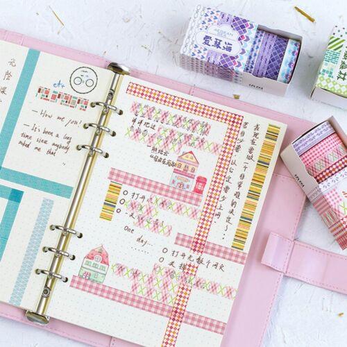 5Pcs Checkered Stripes Masking Adhesive Sticker Label Washi Tape Scrapbooking