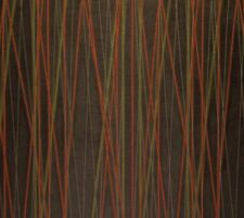 CRYPTON® METALLIC STRIPES ORANGE GREEN BROWN STAIN RESISTANT FABRIC BY THE YARD