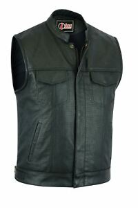 Perforated-leather-biker-vest-club-style-cut-off-waistcoat