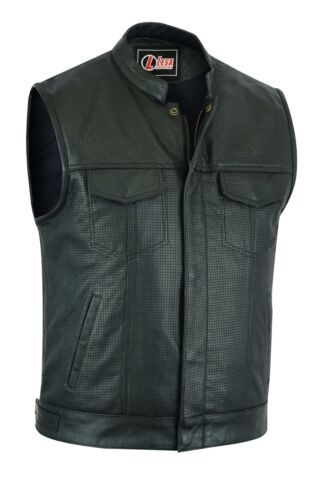 Mens Genuine Real Leather Perforated Biker Vest Club Style Cut Off Waistcoat