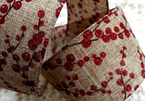1 M 50 mm con Cable Cinta De Navidad Natural-Rojo Brillante Brillo Bayas//Arco De Regalo