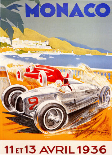 1936 Avpil   print on Paper or Canvas Giclee Poster 13X18 to 60x40 MONACO