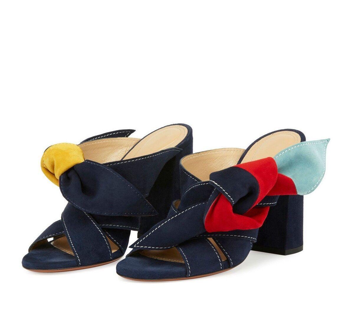 830 CHLOE Nellie Navy bleu rouge jaune Knot Suede Mules Sandals 41