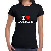 I heart love PARIS T SHIRT girly T WOMENS lady fit skinny BNWT retro funny euro