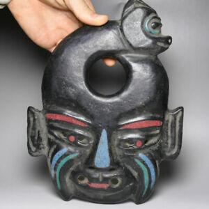 examine 24CM China HongShan Culture jade stone enchased