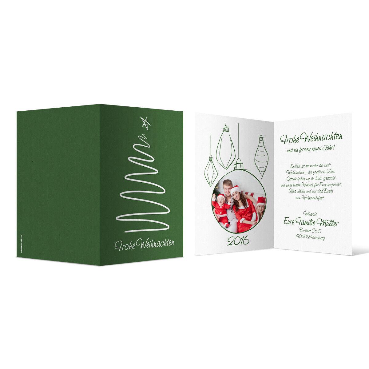 Weihnachtskarten - gezeichneter Tannenbaum in Grün als Foto Klappkarten   | Billiger als der Preis  | Mangelware