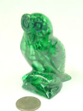 """BUTW Hand Carved Zaire African 2.1"""" Malachite Owl Lapidary 0374P"""