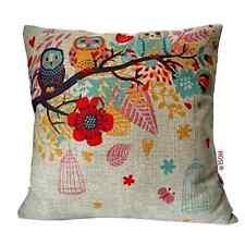 Cotton Linen Throw Pillow Cushion Cover Case Decor Home Sofa Owl New Vintage