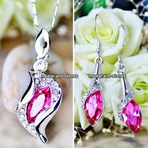 XMAS-GIFT-FOR-HER-Women-Pink-Crystal-Diamond-Necklace-amp-Earrings-Silver-Love-Mum