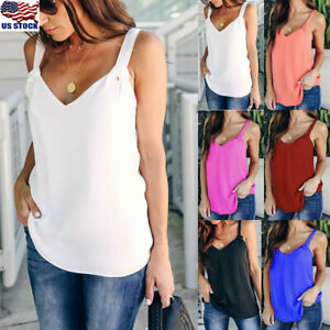 Women-Vest-Sleeveless-Loose-Camisole-Casual-Strappy-V-Neck-Cami-Tank-Tops-Blouse