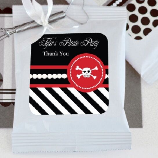48 Personalized Pirate Theme Hot Cocoa Mix Pouches Birthday Party Favors