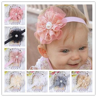 Kids Baby Girl Headwear Toddler Lace Pearl Flower Headband Hair Band Headwear ha