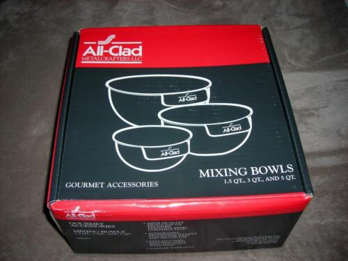 1.5, 3, 5 QT All-Clad ~High Quality Stainless Steel 3-Pcs Mixing Bowl ~$170~NIB
