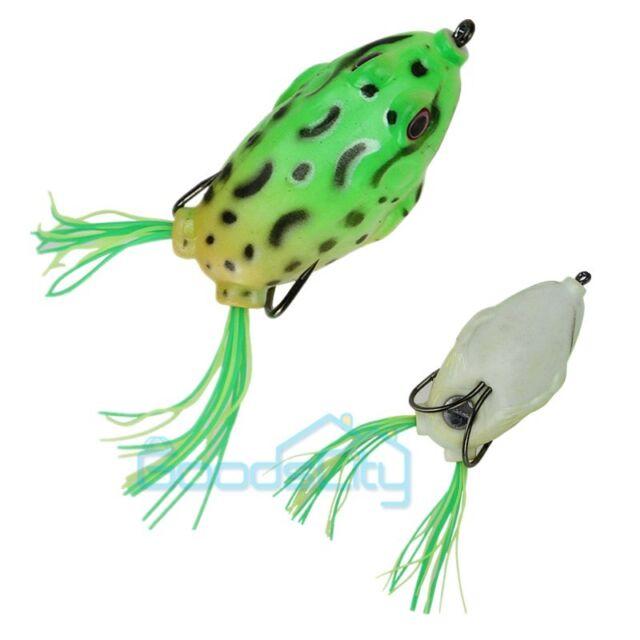 6pcs Fishing Lures Bass Soft Frog Crank baits Top Water Fish Tackle Hook 5.5cm