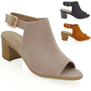Womens-Block-Low-Heel-Peep-Toe-Open-Back-Ladies-Back-Strap-Ankle-Shoe-Boots-3-8