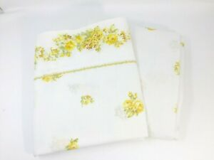 Vintage-Montgomery-Ward-Full-Sheet-Set-White-w-Yellow-Flowers-Flat-amp-Fitted