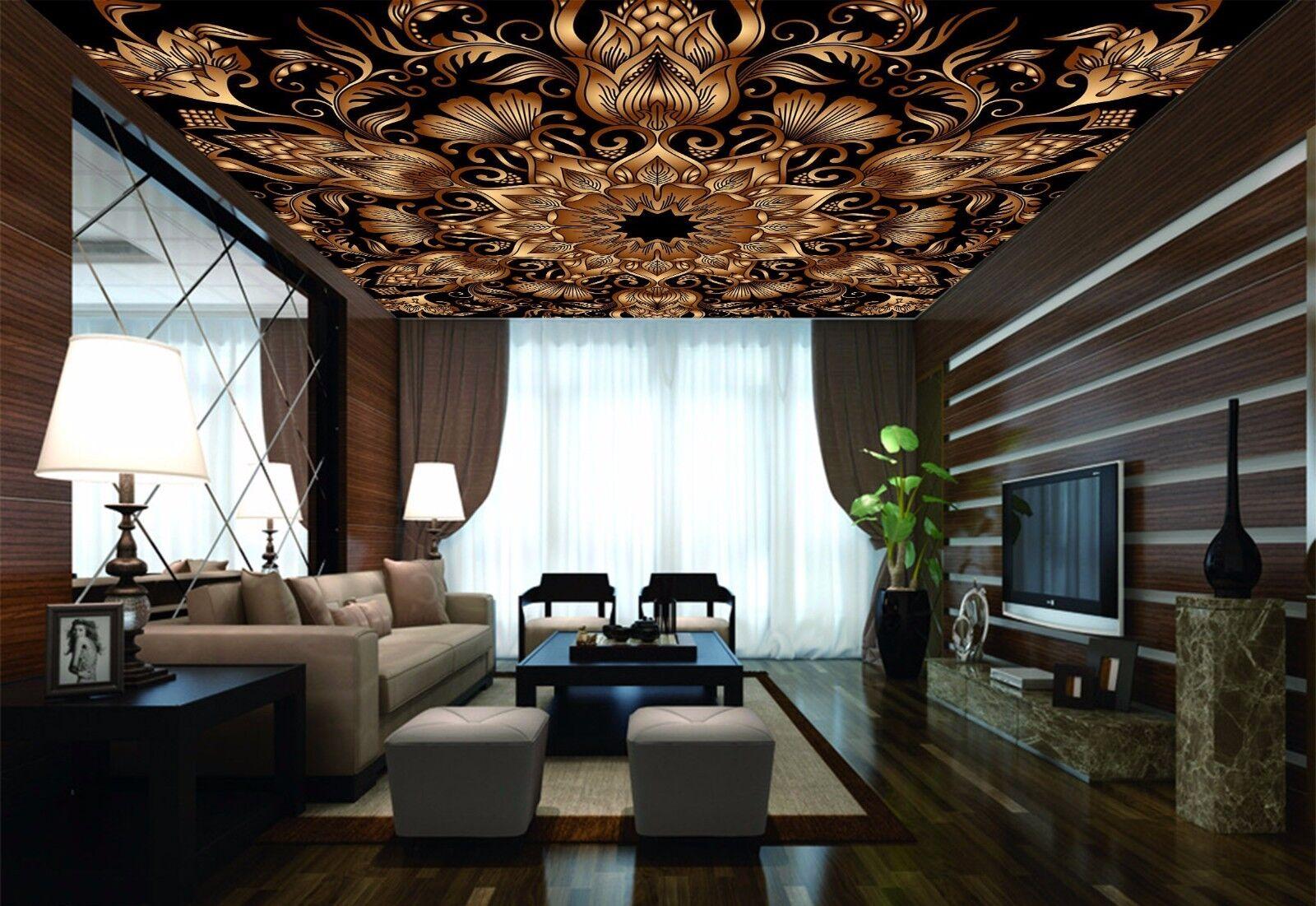 3D gold Petal 5 Ceiling WallPaper Murals Wall Print Decal Deco AJ WALLPAPER AU