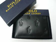 NWT POLO RALPH LAUREN MENS ALLOVER GENUINE LEATHER PASSCASE black WALLET