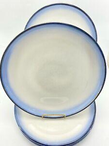 "Sango Stoneware Dinner Plates 11"" Concepts Eggplant 4942 Blue/White Set of 3"