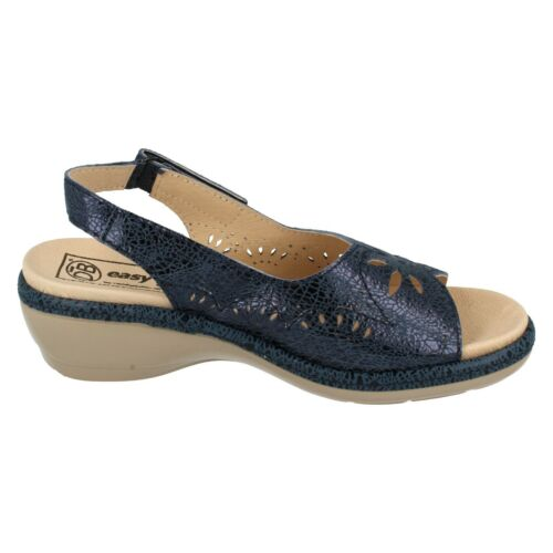 Navy Crazy Paving Leather  Easy B Open Toe Sandals Mint Ladies Blue