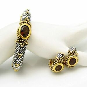 Vintage-Chunky-Bangle-Bracelet-Earrings-Topaz-Glass-Rhinestones-Silver-Plated