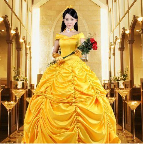 US Beauty and the Beast Princess Belle Halloween Cosplay Costume Women Dress
