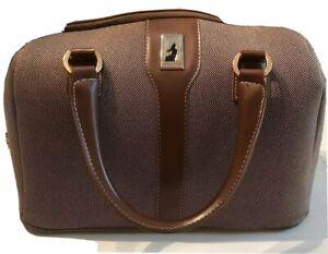 London Fog Carry On Luggage Bag Brown Tweed Oxford Style 7000 Ebay