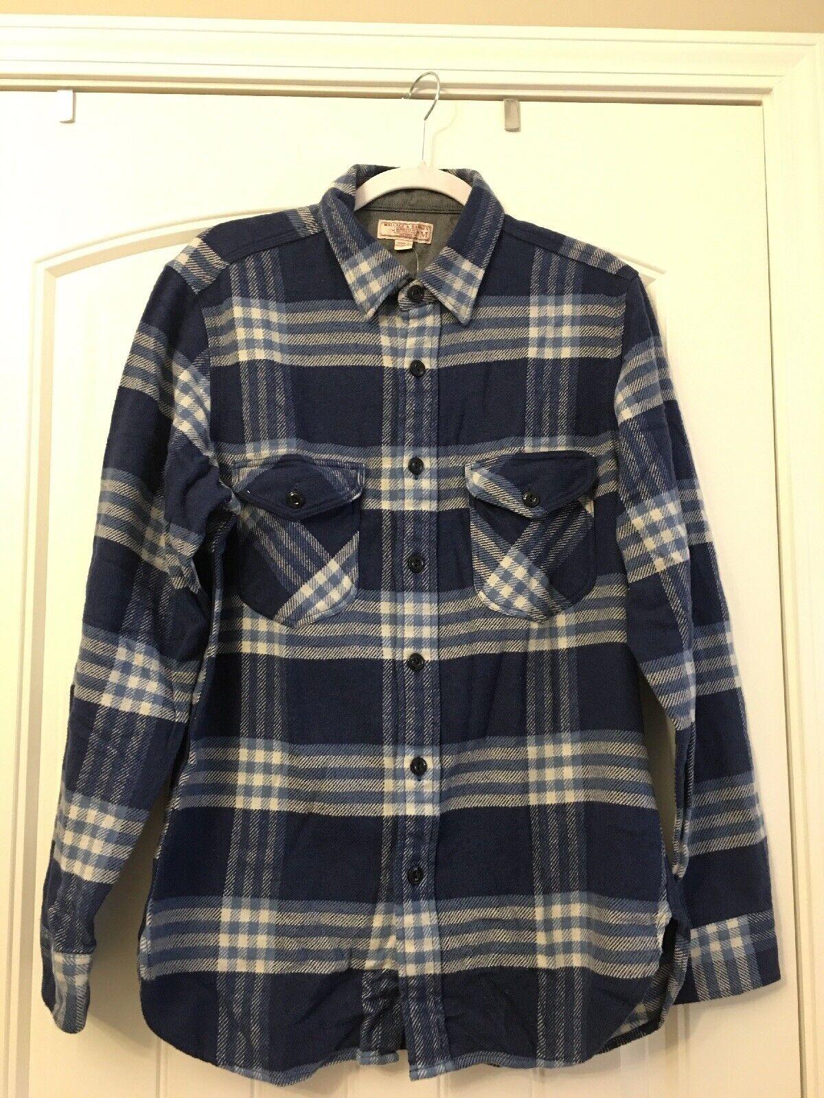 New JCrew Wallace & Barnes Heavyweight Flannel Shirt Vista Plaid bluee Sz M K2519